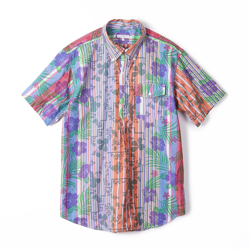 "ENGINEERED GARMENTS Floral Printed on Strip Popover BD Shirt ""Multi Color"""