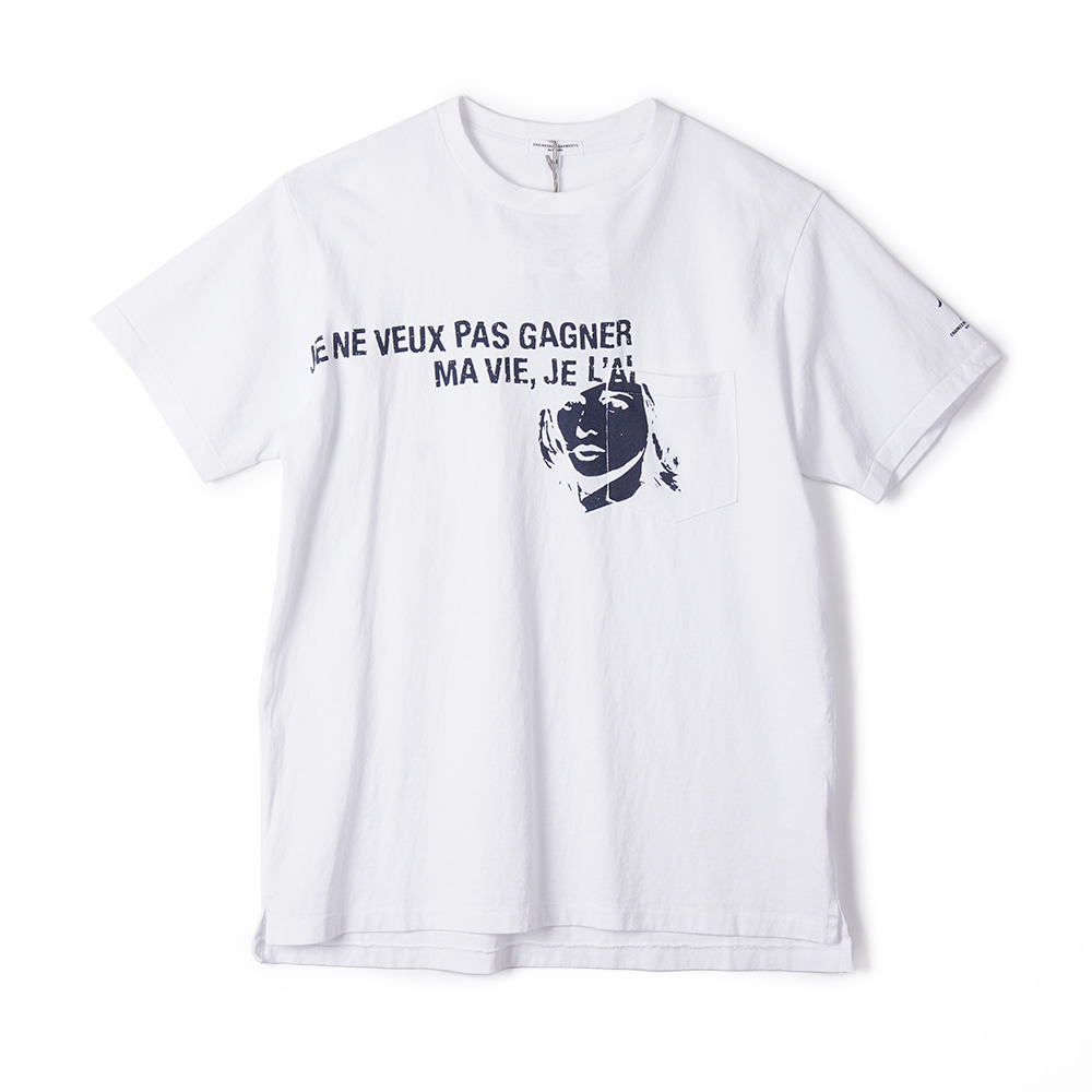 "ENGINEERED GARMENTS W/Girl Print Printed Cross Crew Neck T-Shirt ""White"""