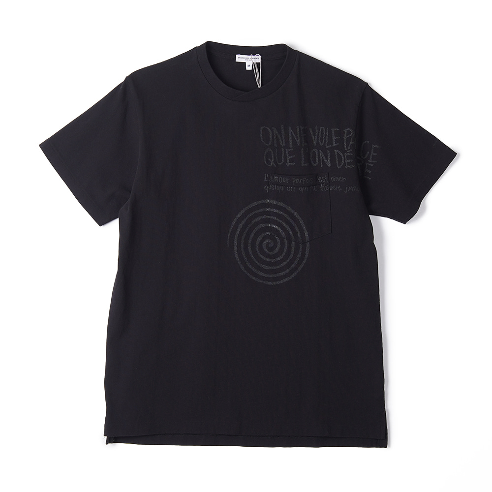 "ENGINEERED GARMENTS W/Spiral Print Printed Cross Crew Neck T-Shirt ""Black"""