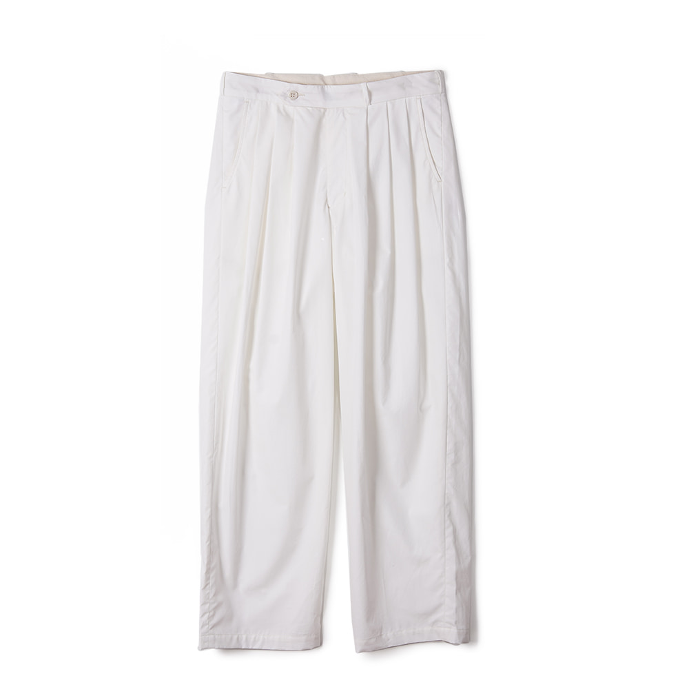 "MONITALY Triple Tuck Wide Pants ""Vancloth Oxford White"""