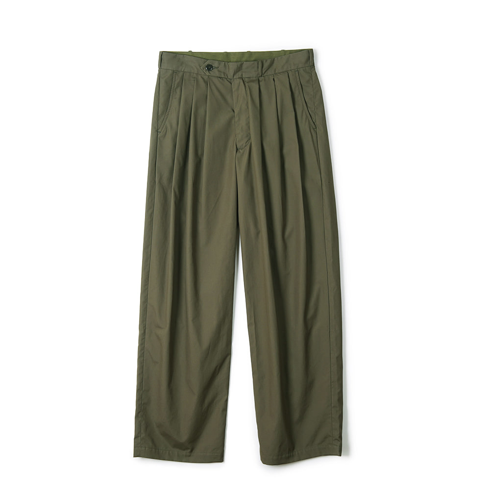 "MONITALY Triple Tuck Wide Pants ""Vancloth Oxford Olive"""
