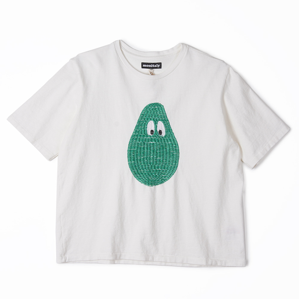 "MONITALY 3D Embroidery S/S Tee ""8/1 Jersey White w/ Avocado"""