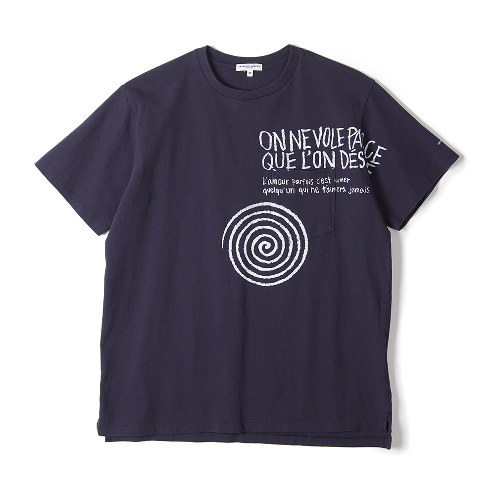 "ENGINEERED GARMENTS W/Spiral Print Printed Cross Crew Neck T-Shirt ""Navy"""