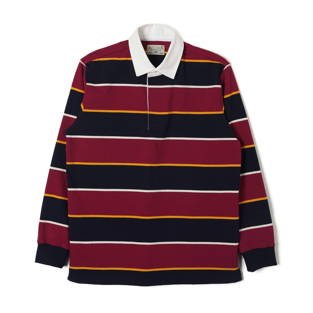 "BANTS WSK Stripe Cotton Rugby T-shirt ""Burgundy x Navy"""