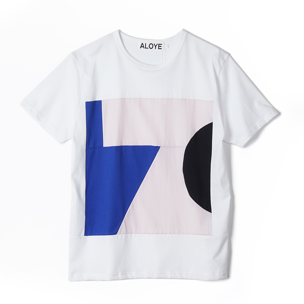 "ALOYE Color Blocks Short Sleeve T-shirt ""White-Pink"""
