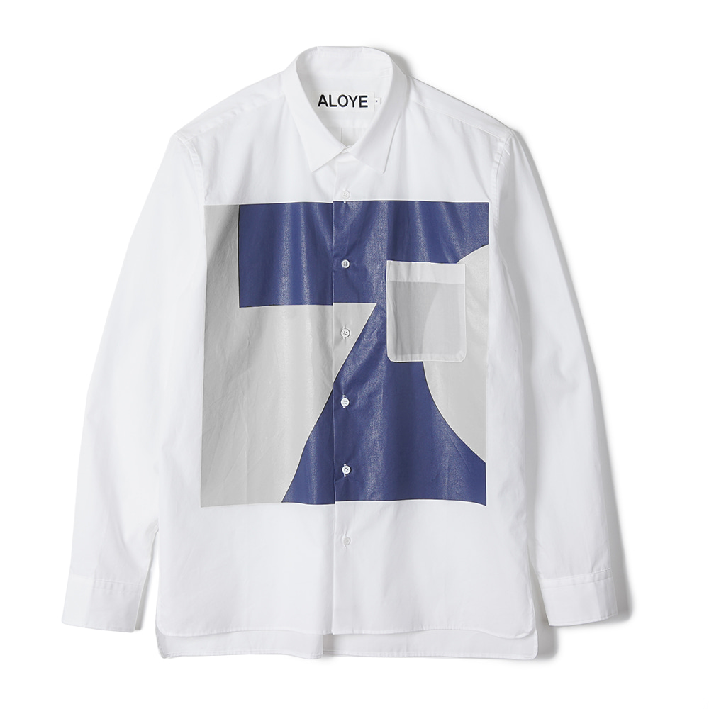 "ALOYE Color Blocks Long Sleeve Shirt ""White-Navy-Gray"""