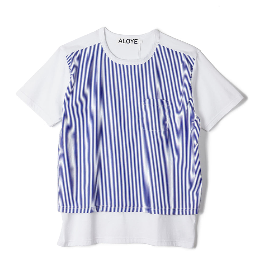 "ALOYE Shirt Fabrics Short Sleeve T-shirt ""White Stripe"""