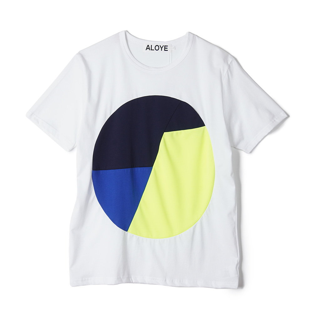 "ALOYE Color Blocks Short Sleeve T-shirt ""White-Yellow"""