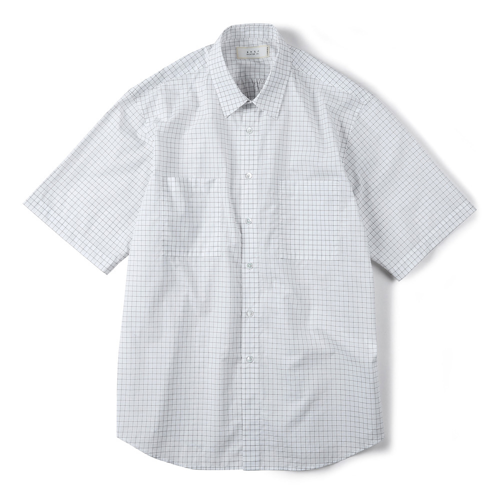 "SHIRTER Square Checked Half Shirt ""White"""