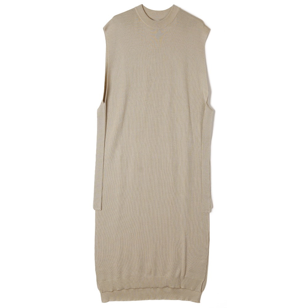 "BUNT Fine Cotton Long Tape Knit Vest ""Beige"""