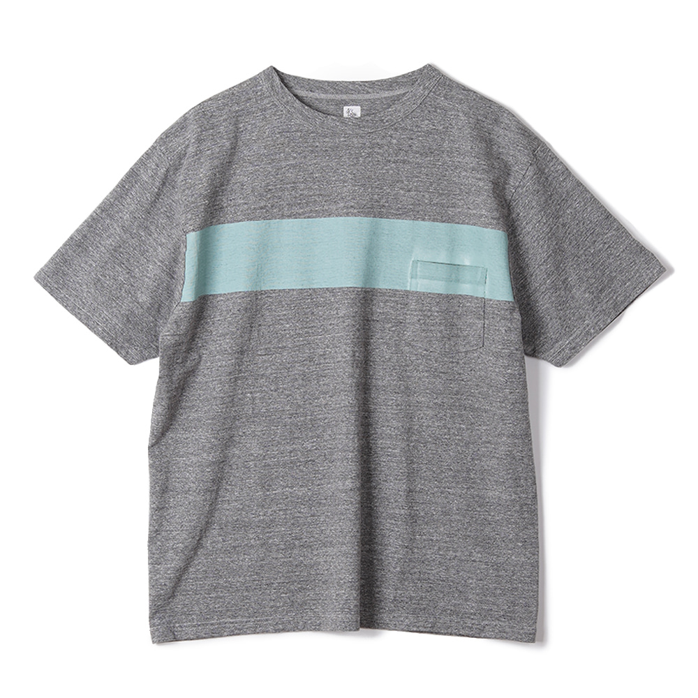 "KAPTAIN SUNSHINE West Coast Tee ""Feather Grey x Mint Green Line"""