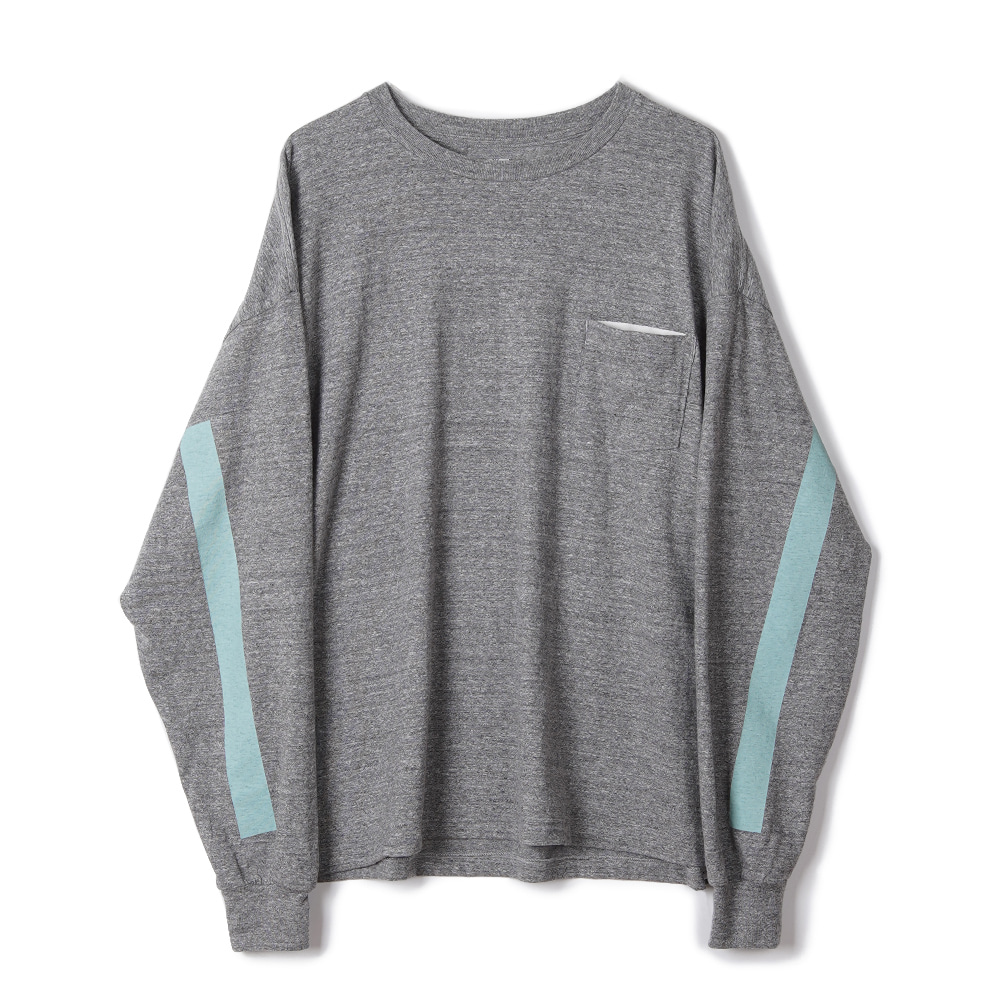 "KAPTAIN SUNSHINE West Coast Long Sleeved Tee ""Feather Grey x Mint Green Line"""