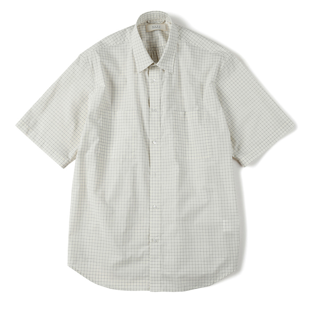 "SHIRTER Square Checked Half Shirt ""Ivory"""