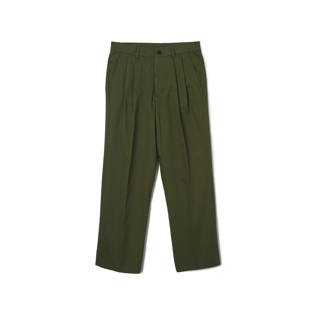 "BANTS WSK Cotton Twill Chino Two-tuck Pants ""Olive"""