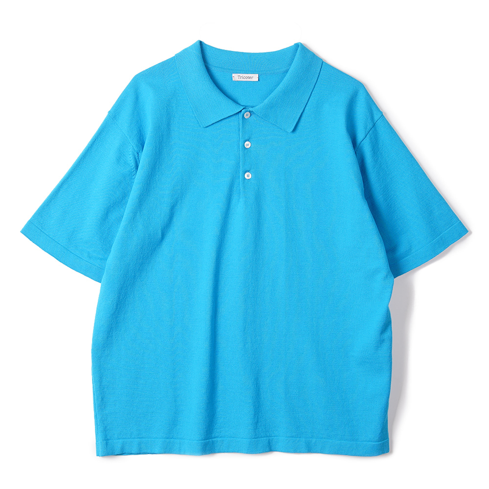 "TRICOTER High Twist Cotton Polo Kint ""Cyan blue"""