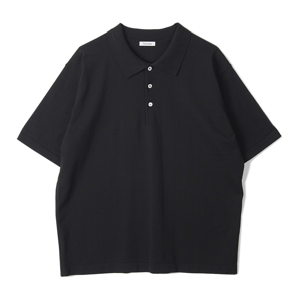 "TRICOTER High Twist Cotton Polo Kint ""Black"""