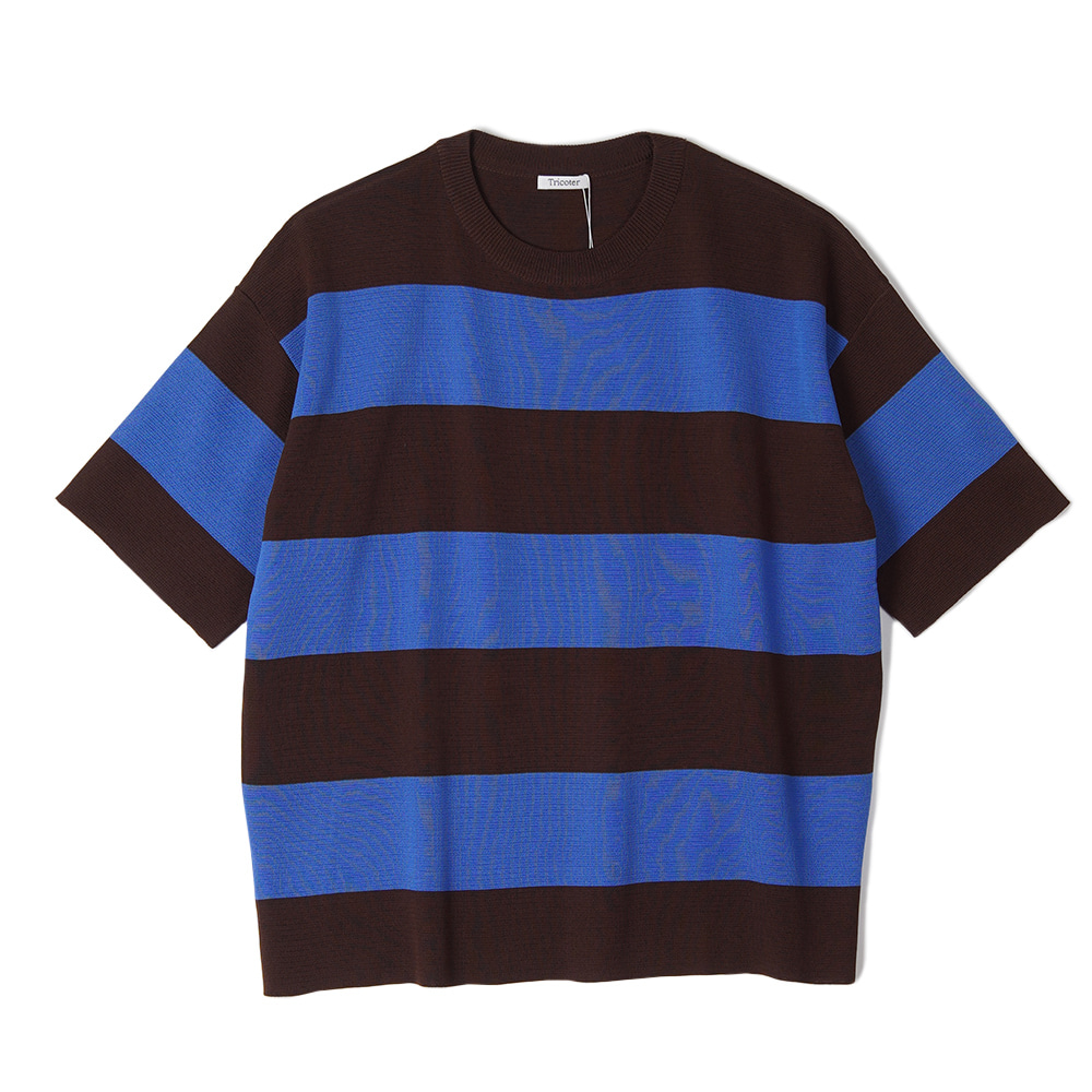 "TRICOTER Summer Yarn Double Face Border knit ""Brown/Blue"""