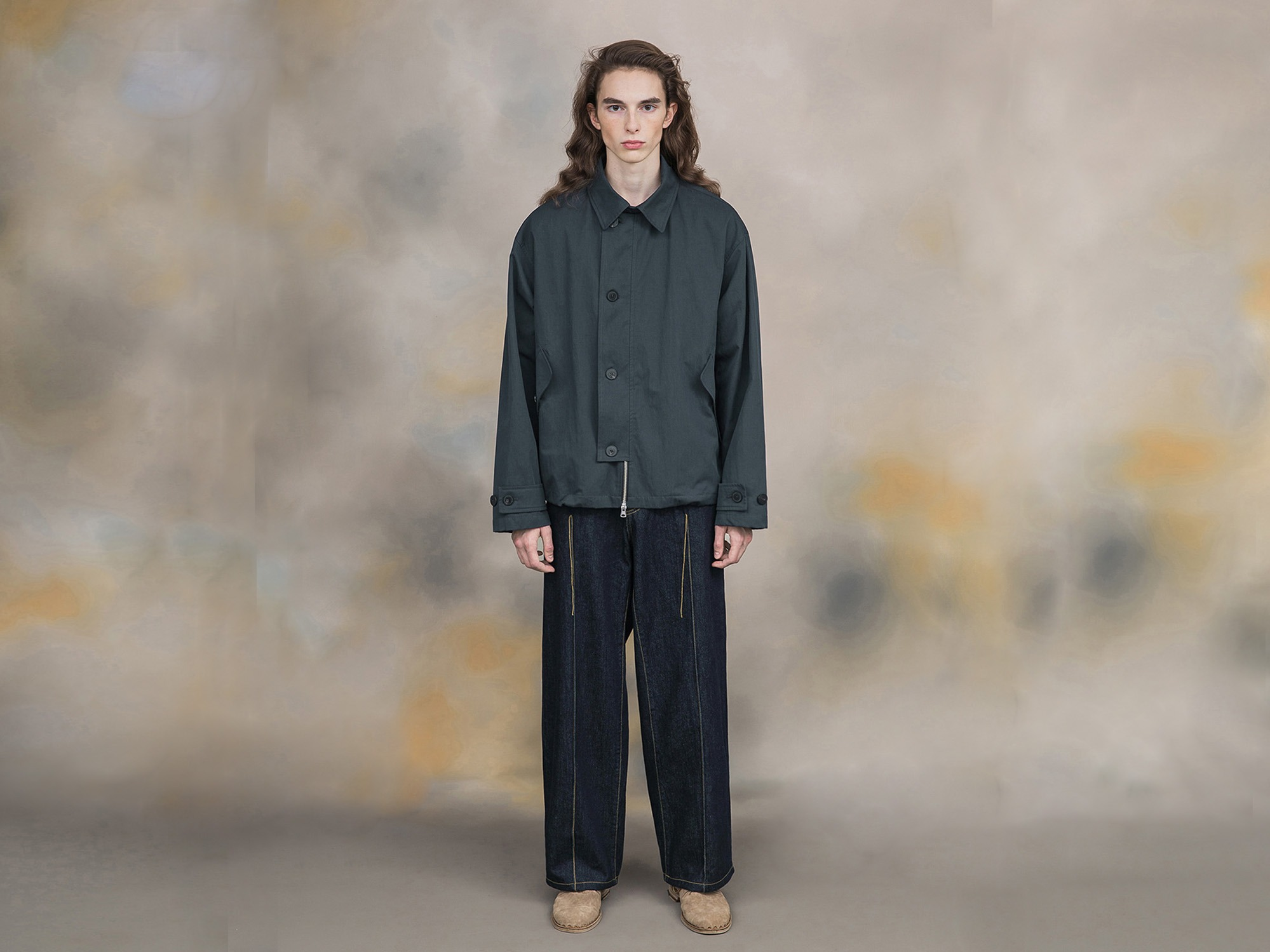 "★SHIRTER High Density Twill Gabardine Jacket ""Blue Green"""