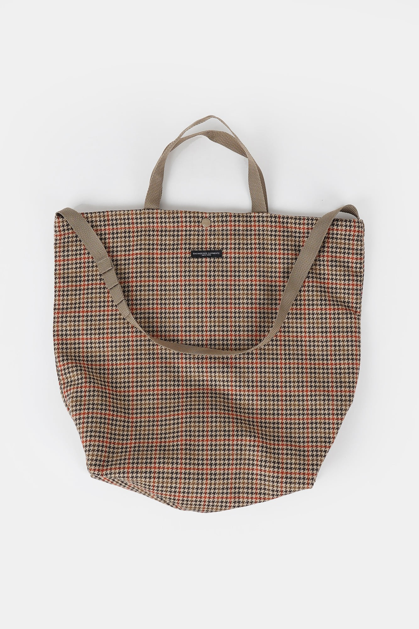 "ENGINEERED GARMENTS Carry All Tote ""Tan/Orange Wool Big Gunclub Check"""