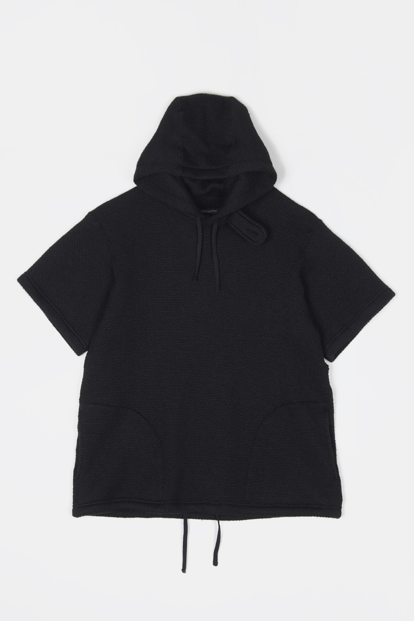 "ENGINEERED GARMENTS Short Sleeve Hoodie ""Black Poly Wool Sweater Knit"""