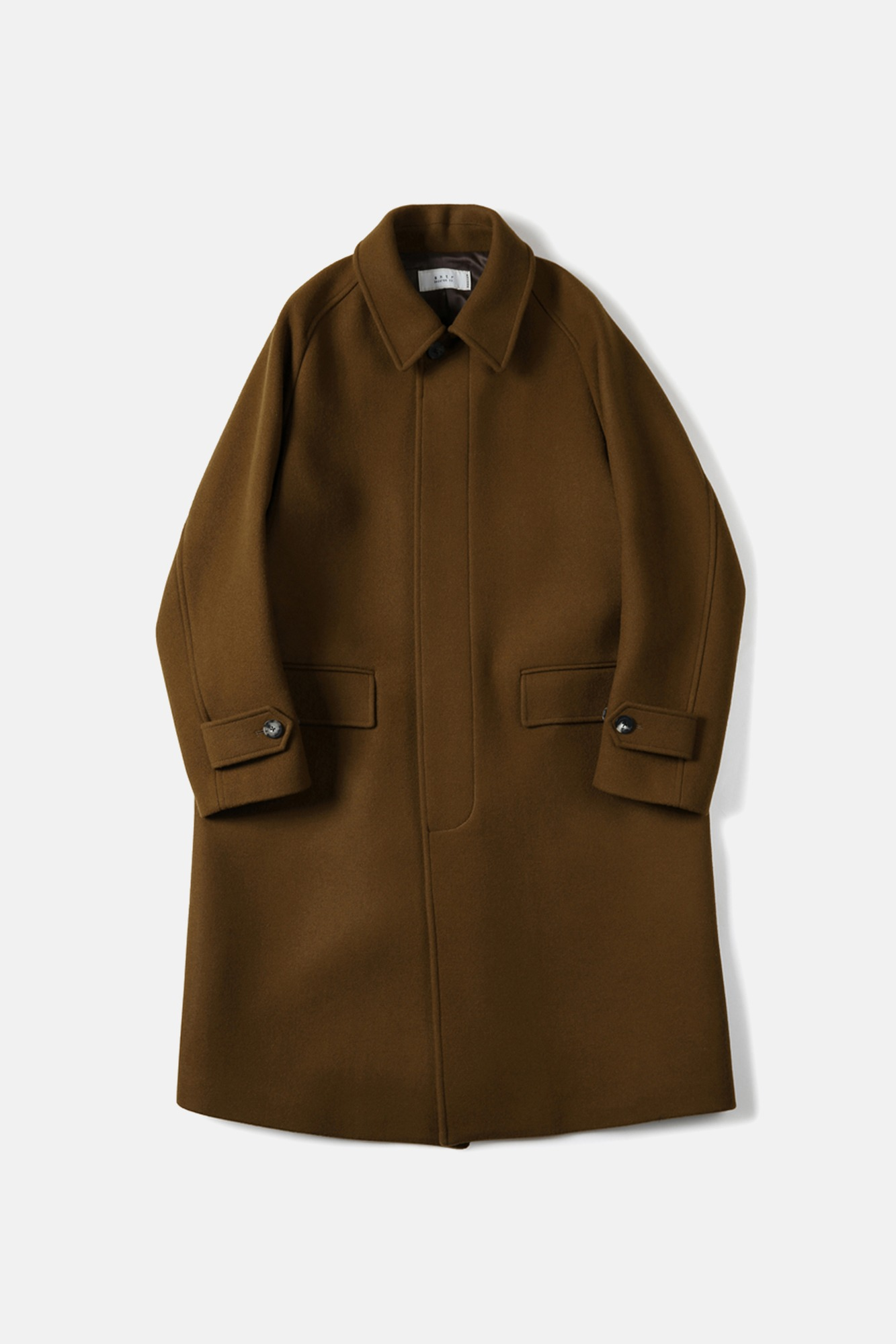 "SHIRTER Melton Wool Balmacaan Coat ""Sand Brown"""