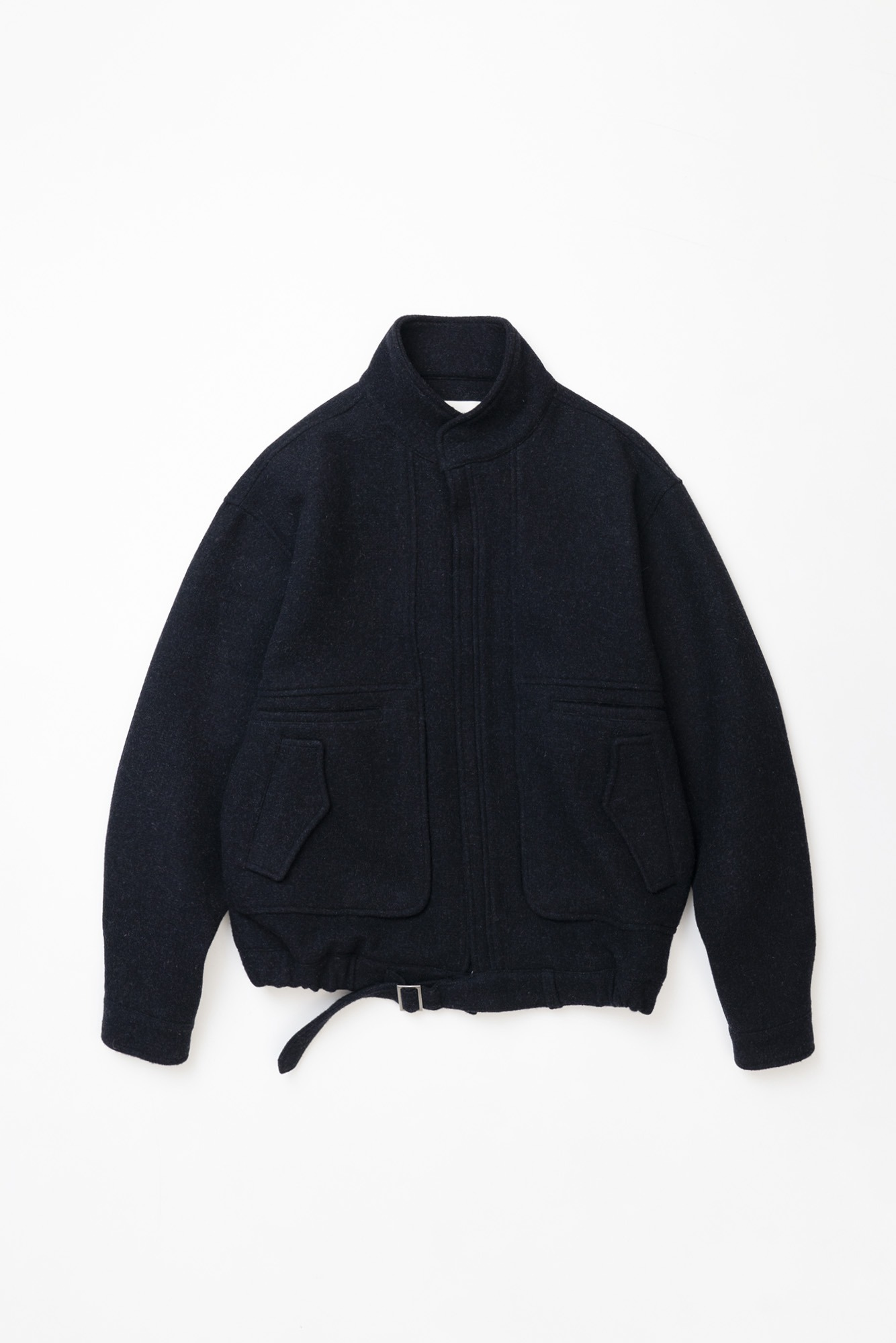 "OOPARTS Hem Belted Crop-Blouson Jacket ""Navy"""