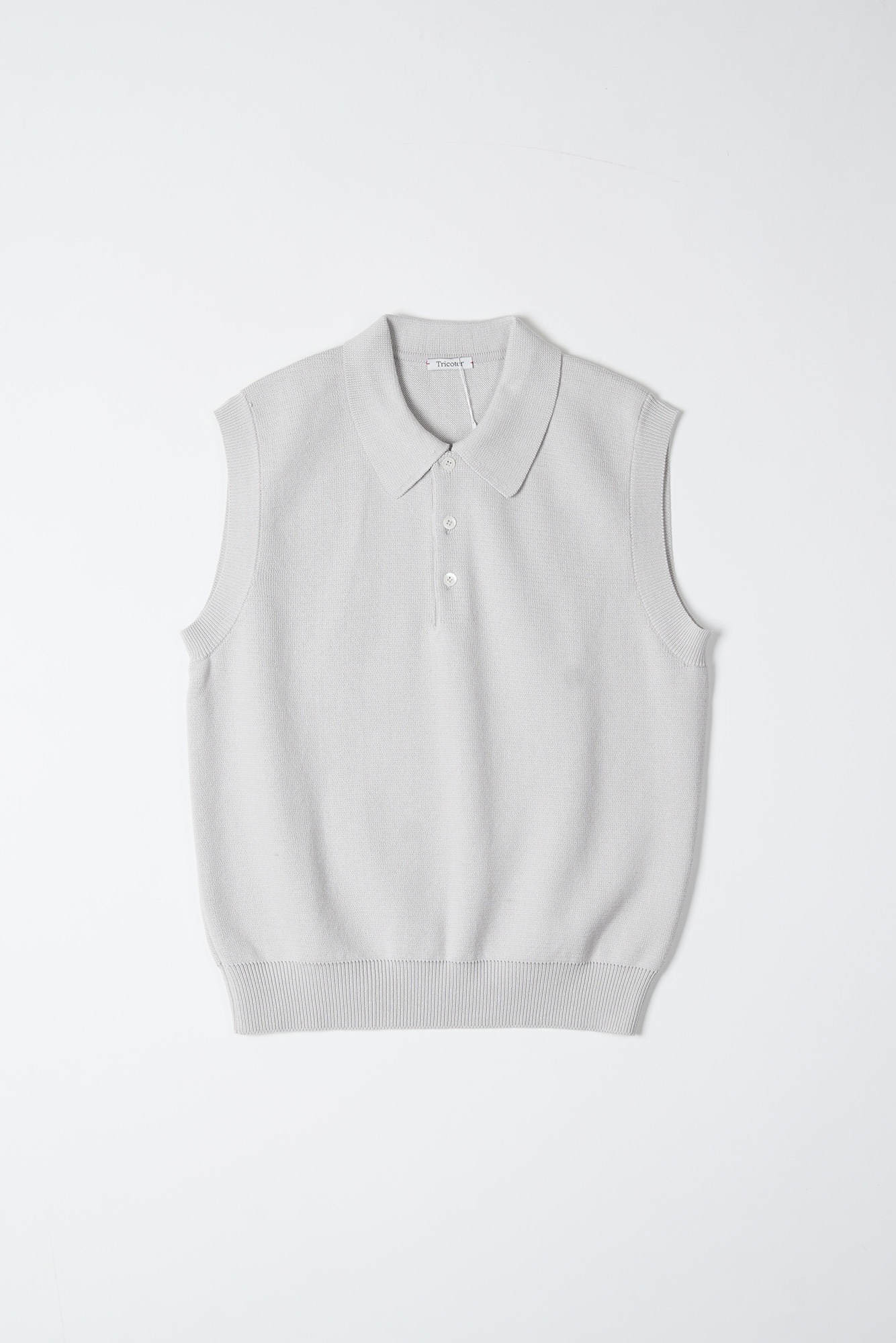 "TRICOTER Low Gauge Polo Vest ""Lt Cement"""