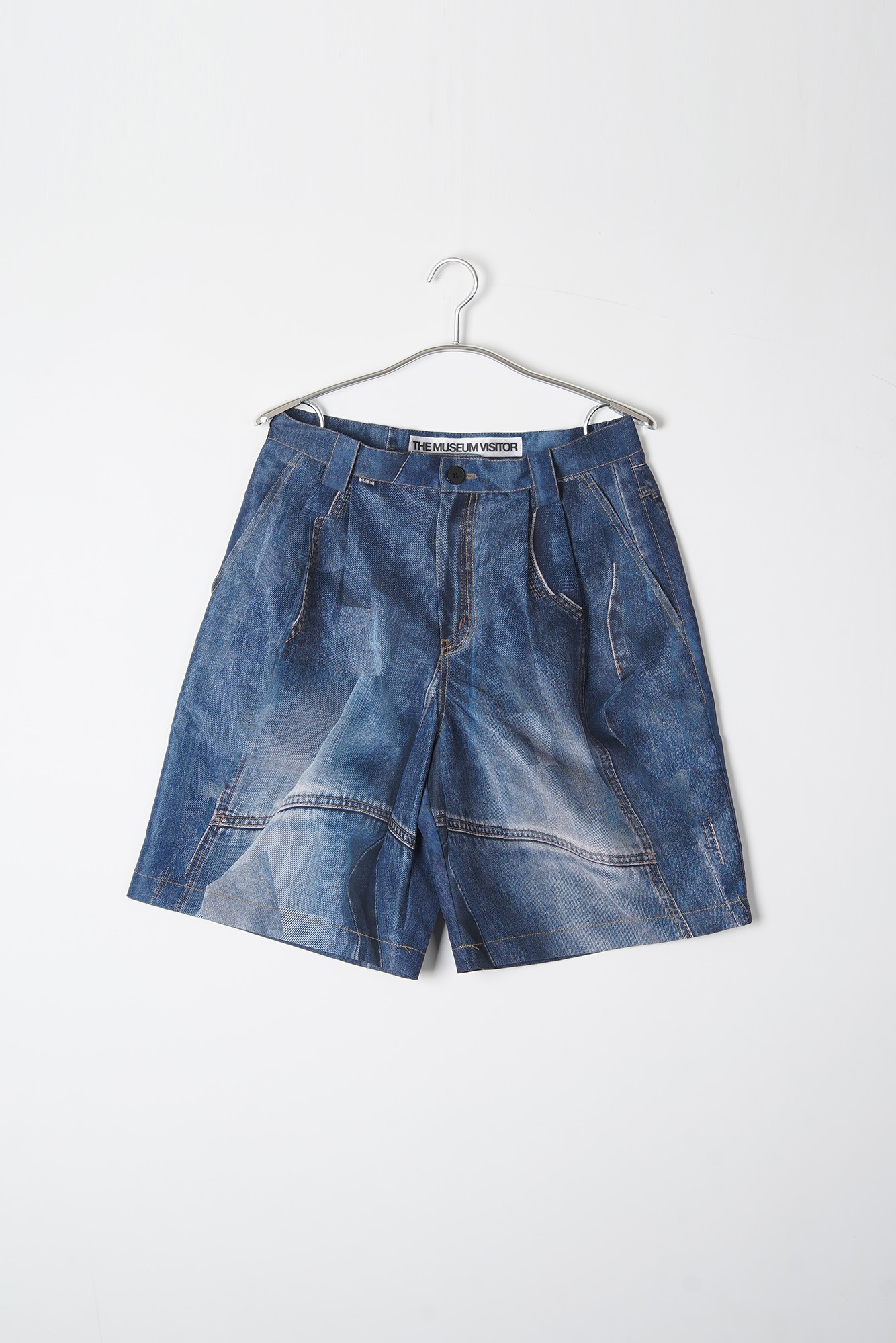 THE MUSEUM VISITOR Denim Printed Denim Shorts