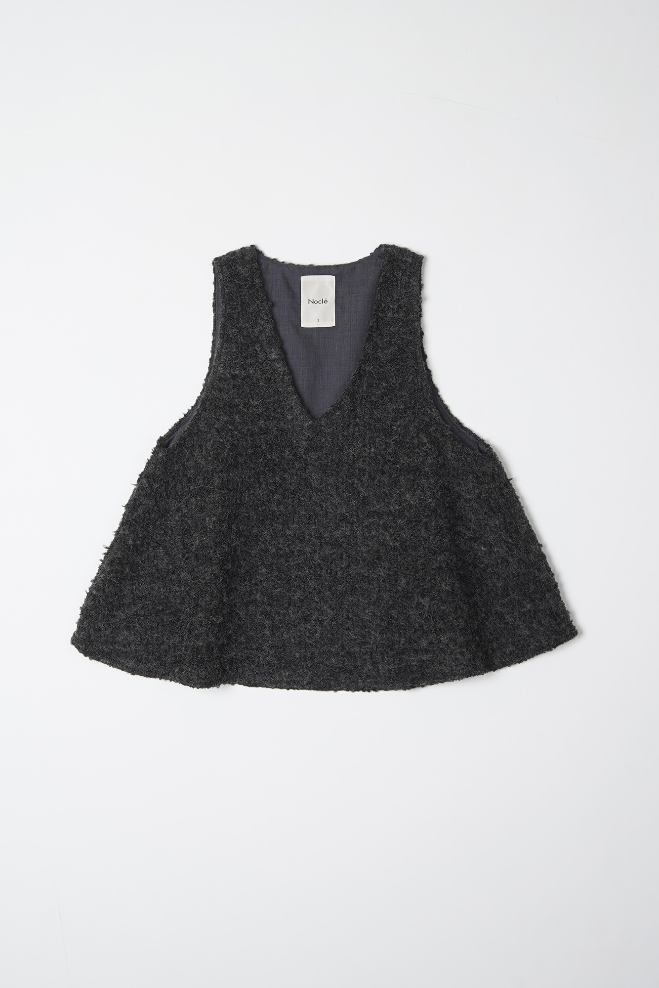 "Noclé Loop Yarn Wool V Neck Vest ""Charcoal"""