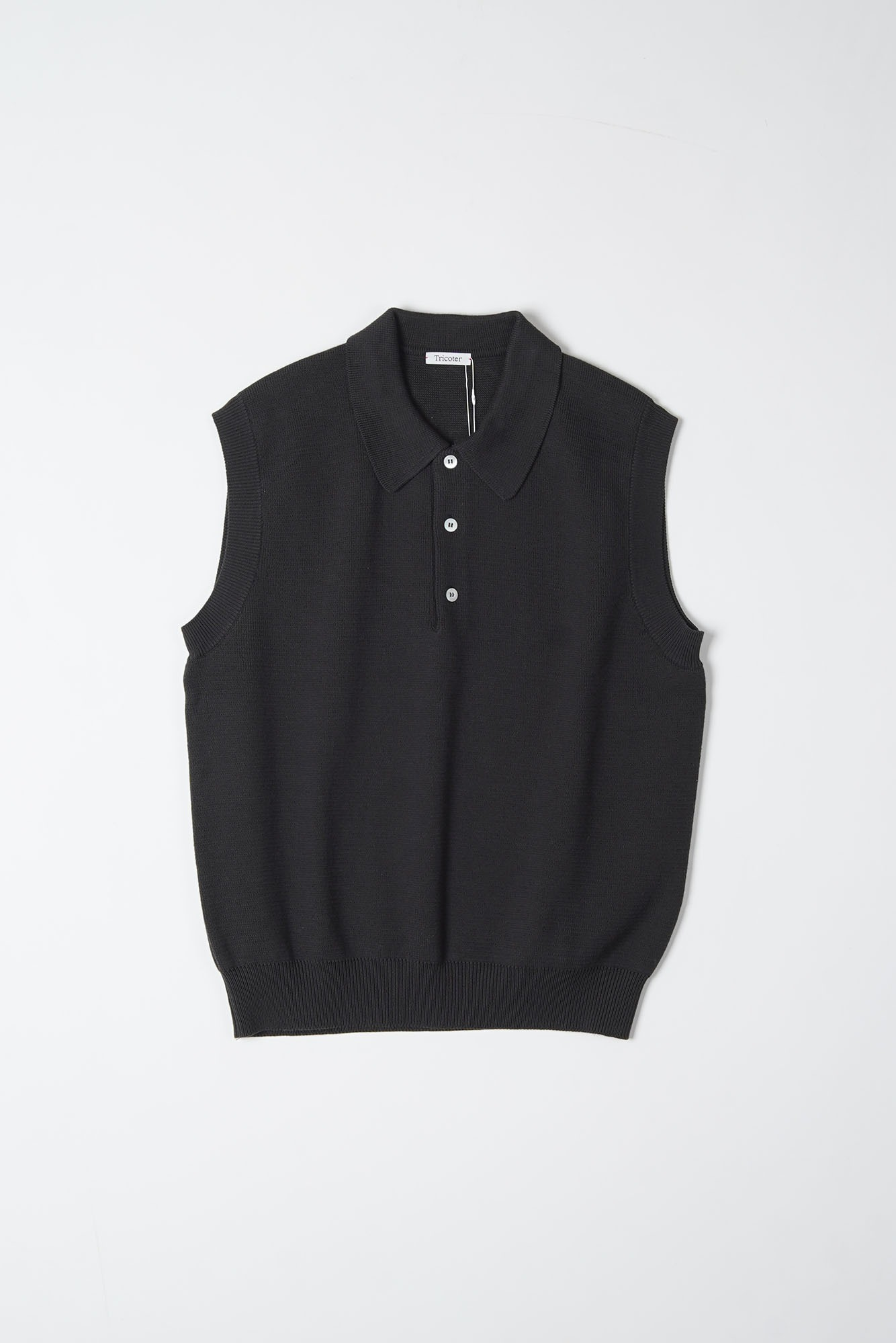 "TRICOTER Low Gauge Polo Vest ""D. Charcoal"""