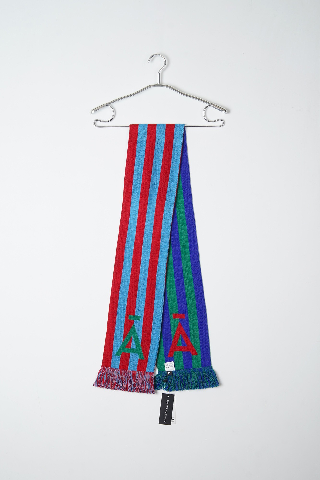 "DAVID CATALAN Multicolor Scarf ""Red Blue / Green Navy Blue"""