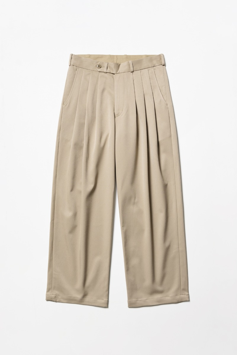 "MONITALY Triple Tuck Wide Pants ""Khaki"""