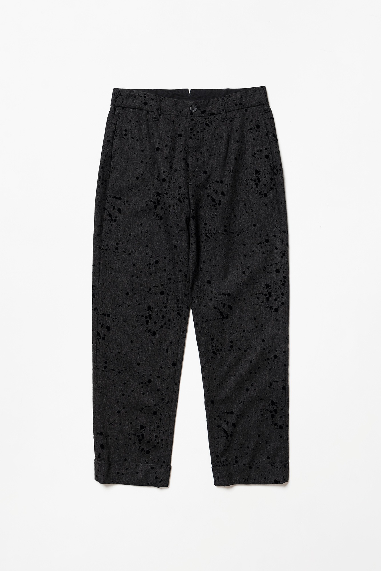 "ENGINEERED GARMENTS Andover Pant ""Charcoal Rayon Wool Flocking Splatter Print"""