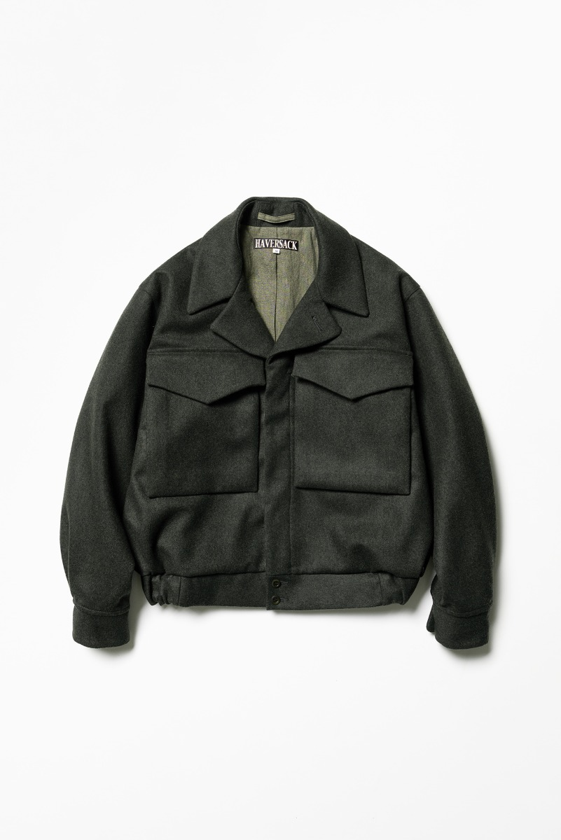 "HAVERSACK Double Cross Melton Wool Battle Jacket ""Navy"""