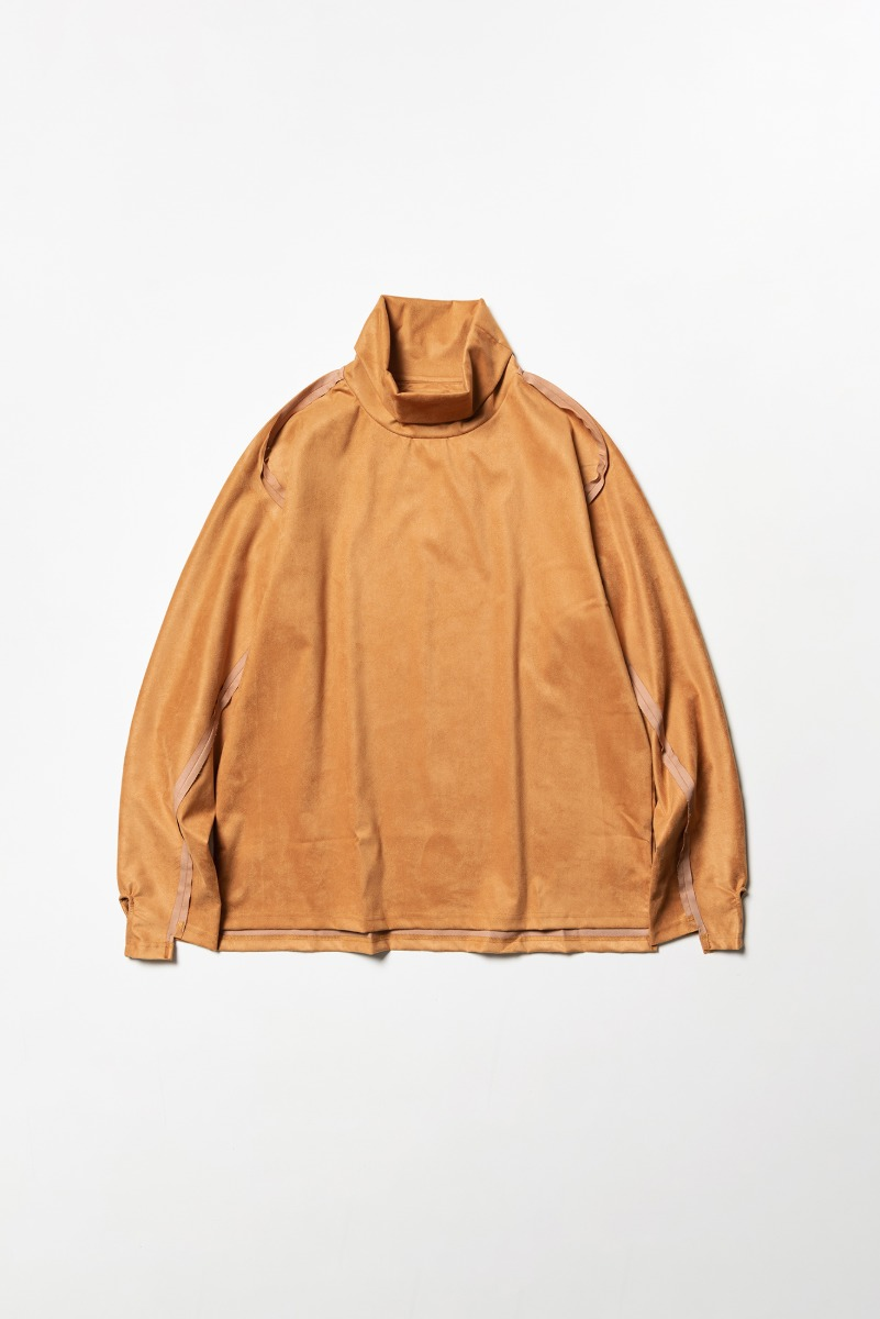 "MEANSWHILE Suede Split Sleeve Turtleneck ""Light Brown"""