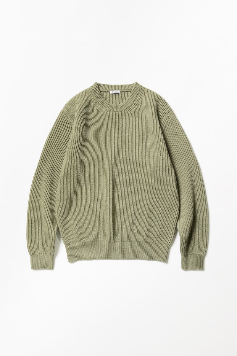 "TRICOTER Chunky Ribbed Full Sweater ""Olive"""