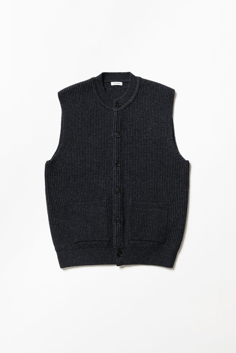 "TRICOTER Chunky Ribbed Full Vest ""Heather Charcoal"""
