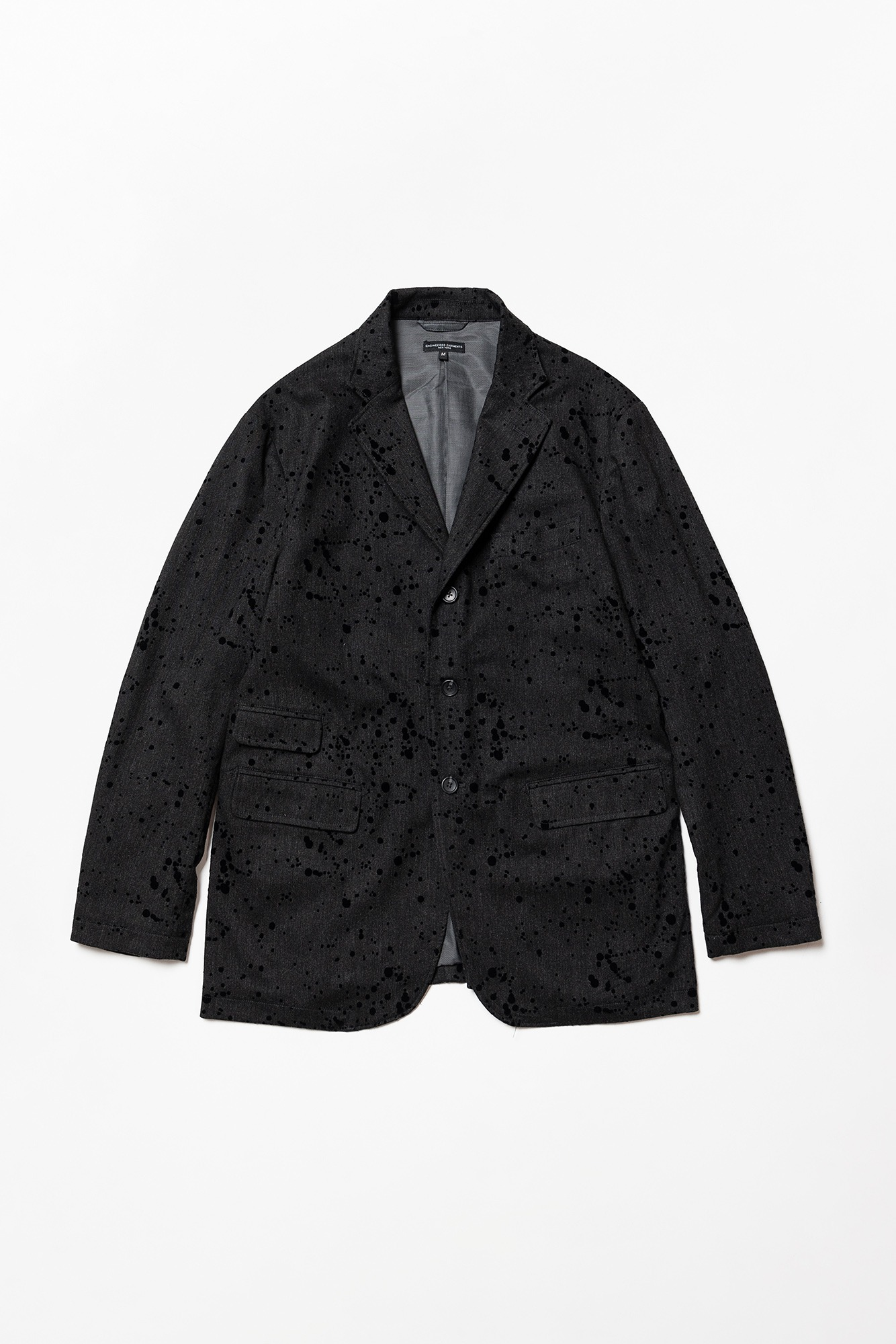 "ENGINEERED GARMENTS Lawrence Jacket ""Charcoal Rayon Wool Flocking Splatter Print"""