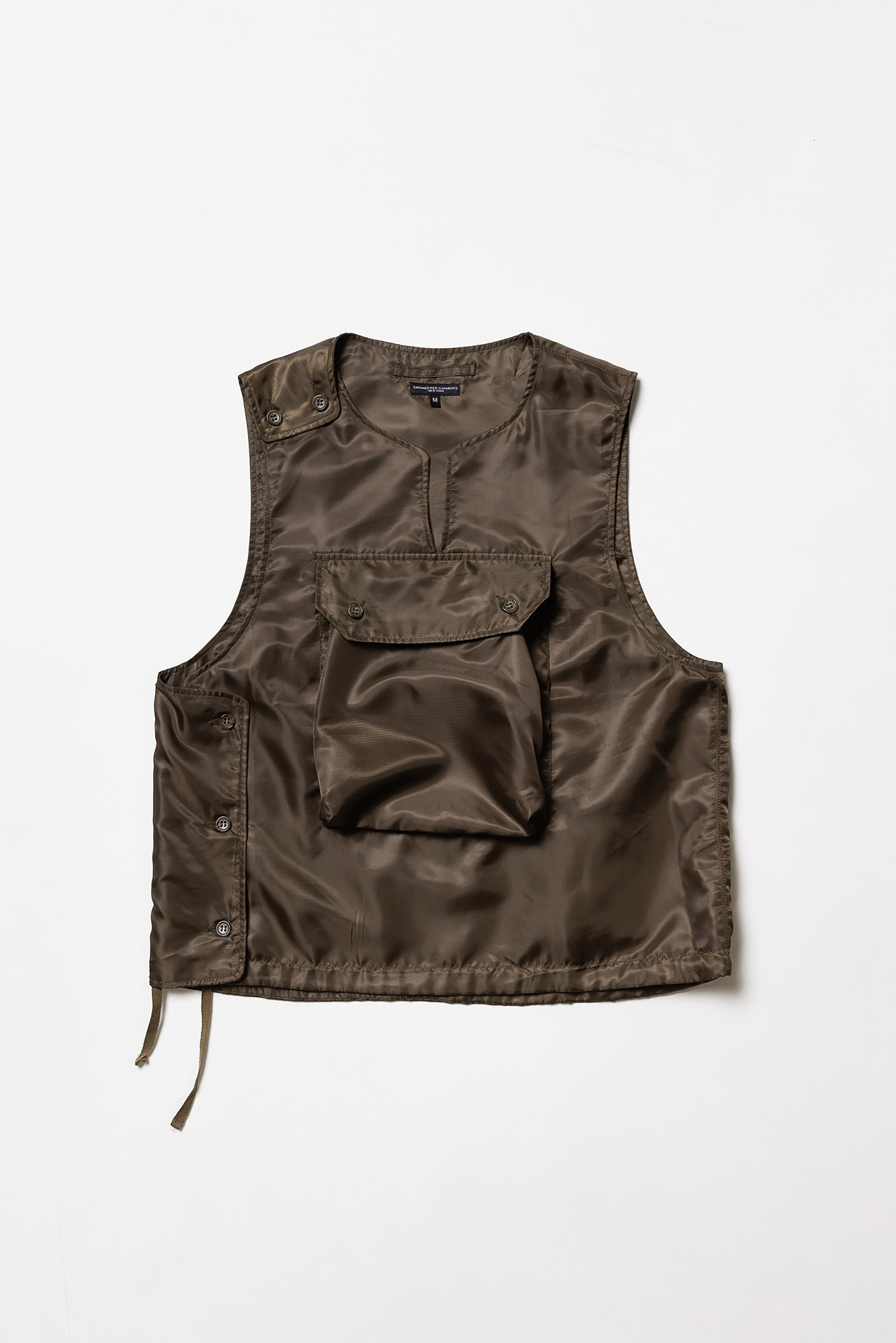 "ENGINEERED GARMENTS Cover Vest ""Brown Polyester Pilot Twill"""