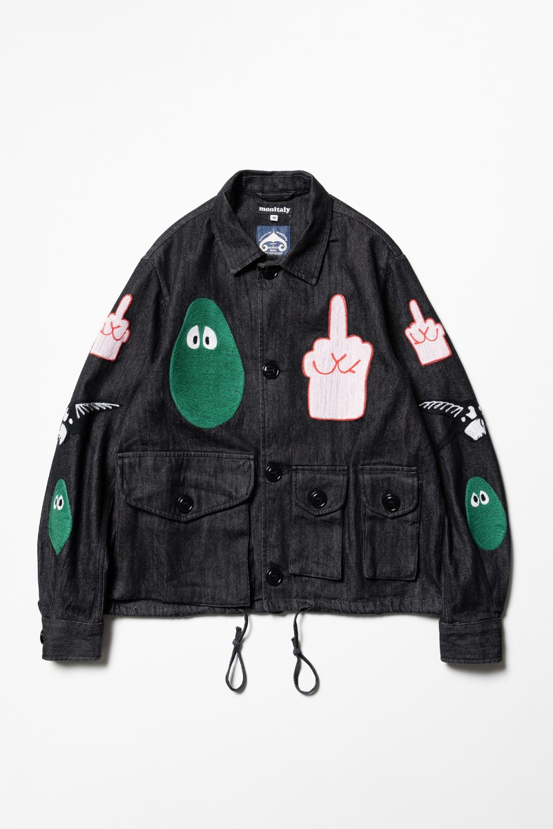 "MONITALY Military Service Jacket Type-A W/Chain Embroidery ""Denim Black"""