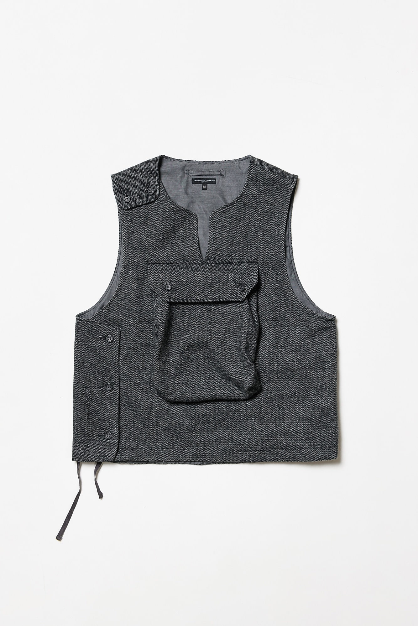 "ENGINEERED GARMENTS Cover Vest ""Grey Poly Wool Herringbone"""