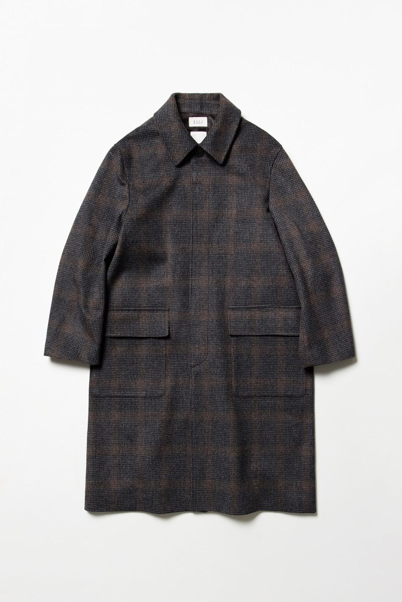[COLLABORATION] NOCLÉ X SHIRTER Fine Wool Check Mac Coat
