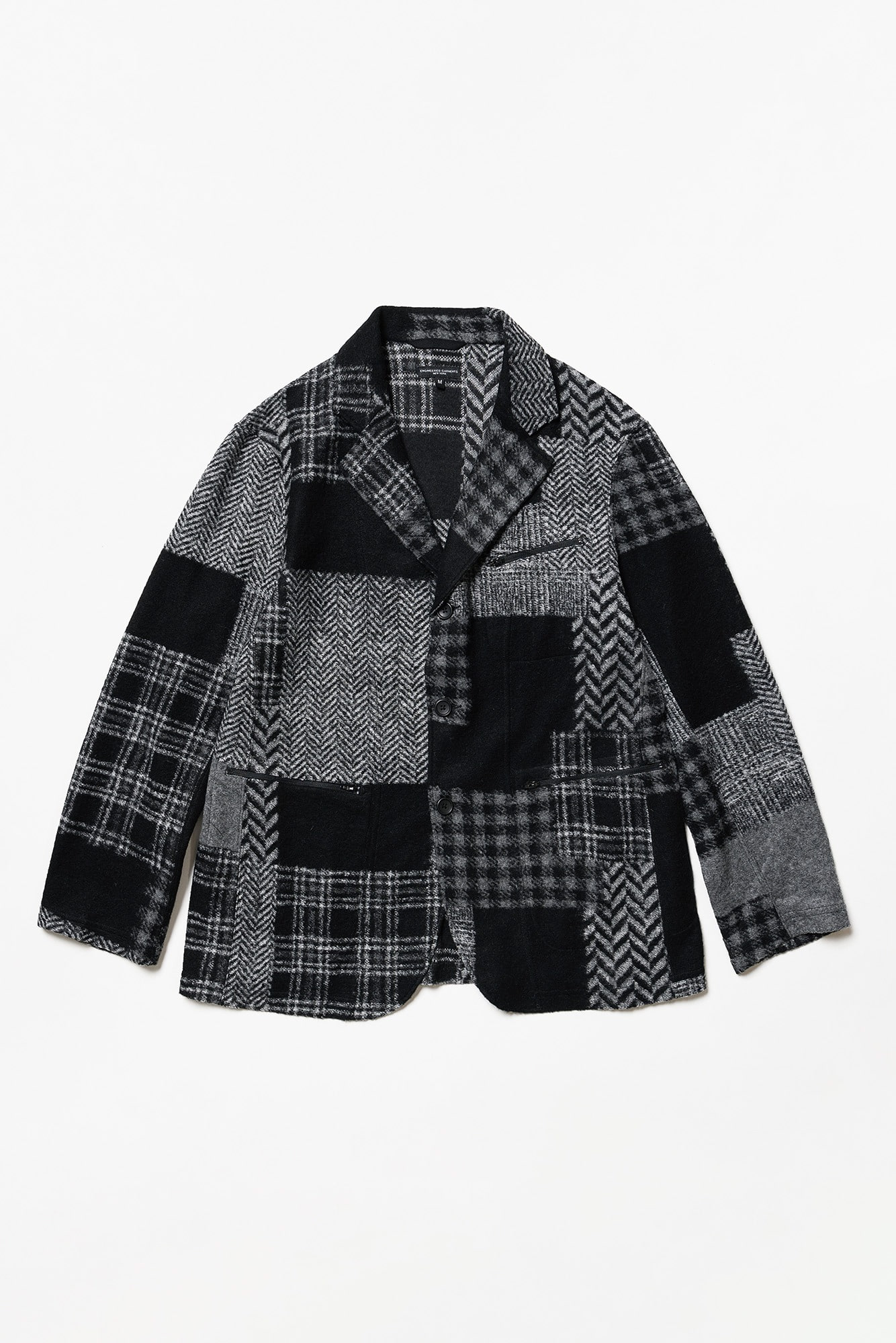 "ENGINEERED GARMENTS Leisure Jacket ""Black/Grey Knit Patchwork Herringbone"""