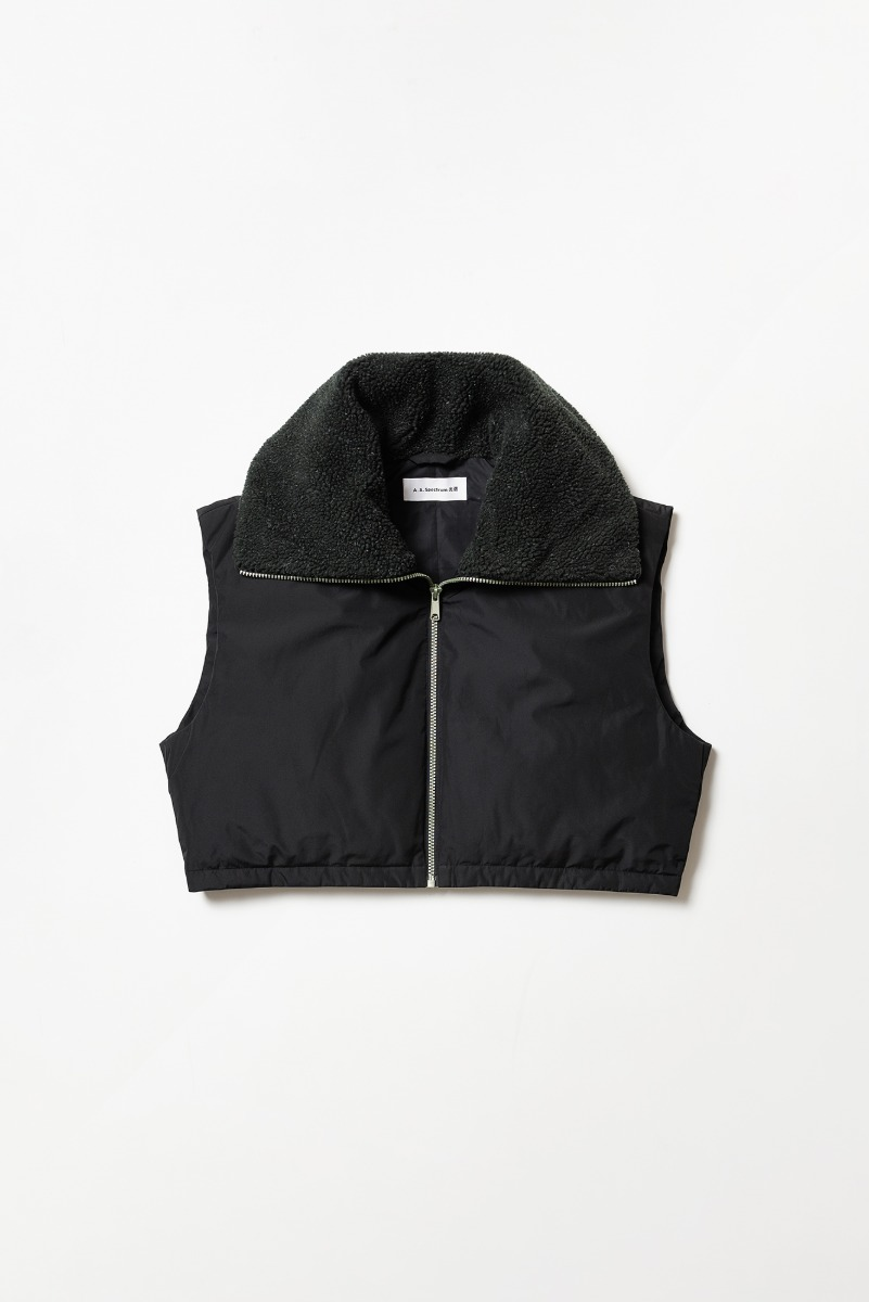 "A.A.Spectrum Wide Collar Down Vest ""Black"""