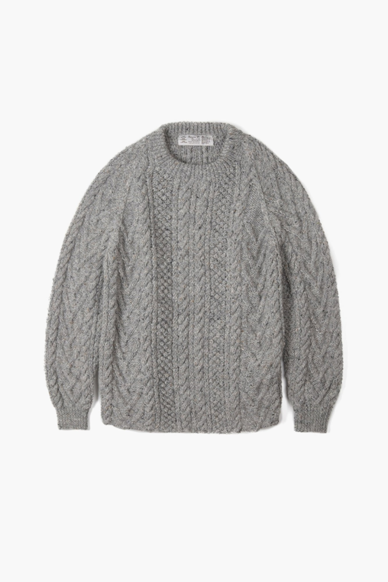 "ATHENA DESIGNS Cable Knit Sweater ""Grey Mix"""