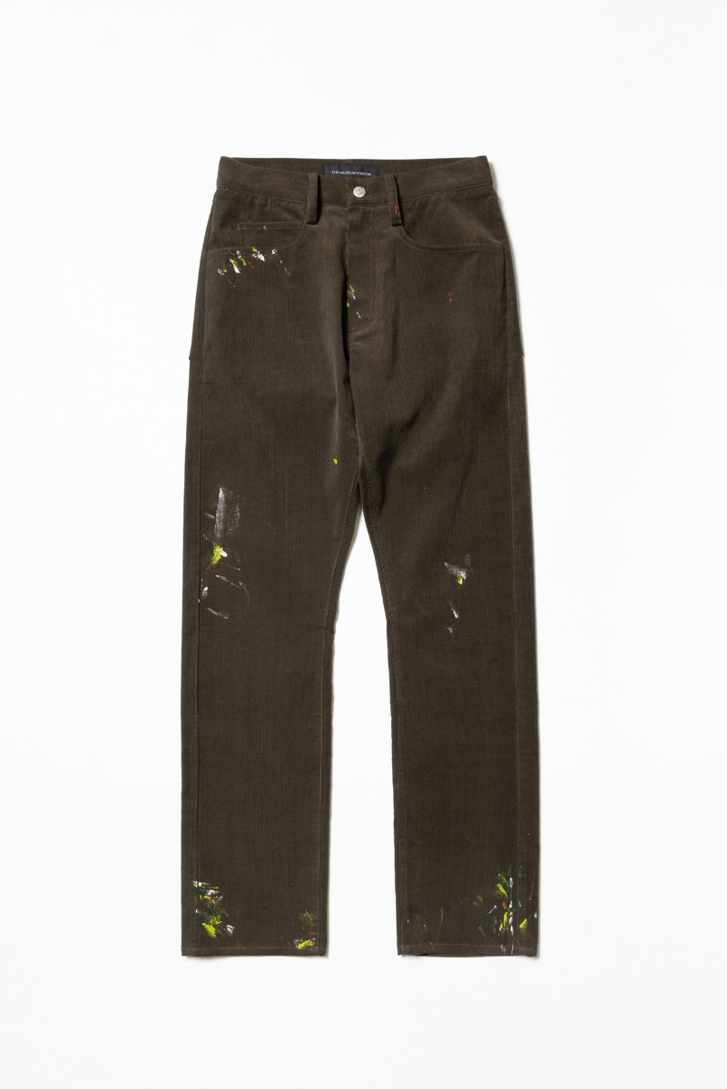 "THE MUSEUM VISITOR Corduroy Painted Pants ""Dark Brown"""