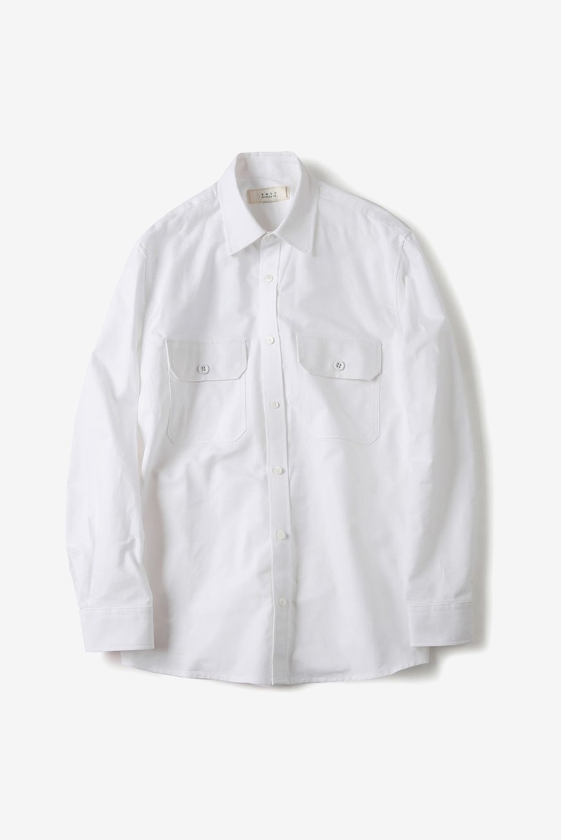 "SHIRTER Flap Pocket Oxford Shirt ""White"""