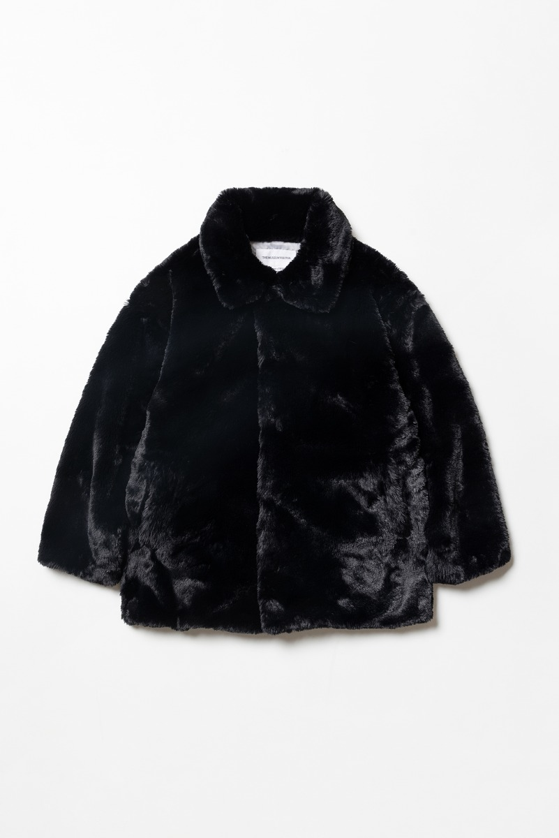 "THE MUSEUM VISITOR Blooming Eco Fur Jacket ""Black"""