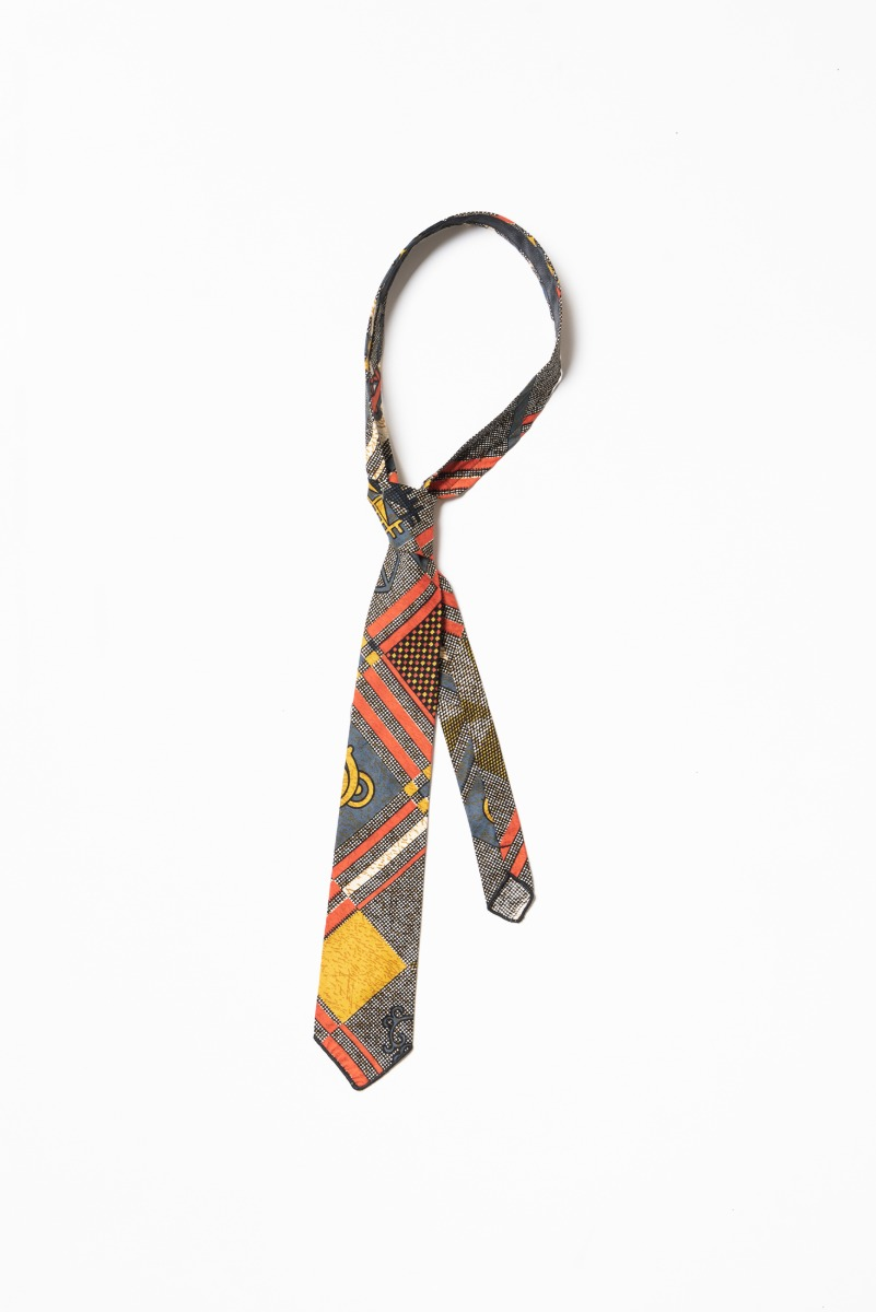 "ENGINEERED GARMENTS Neck Tie ""Black Gold Cotton African Print"""