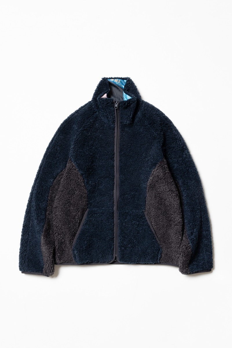 "THE MUSEUM VISITOR Reversible Fleece Jacket ""Navy"""